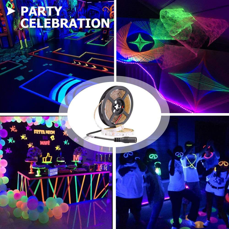 LED Black Light Strip 12V Purple LED Flexible Waterproof Blacklight Fixtures for Indoor Fluorescent Dance Party Body Paint Stage