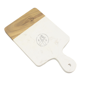 Splice acacia wood and marble cheese board square