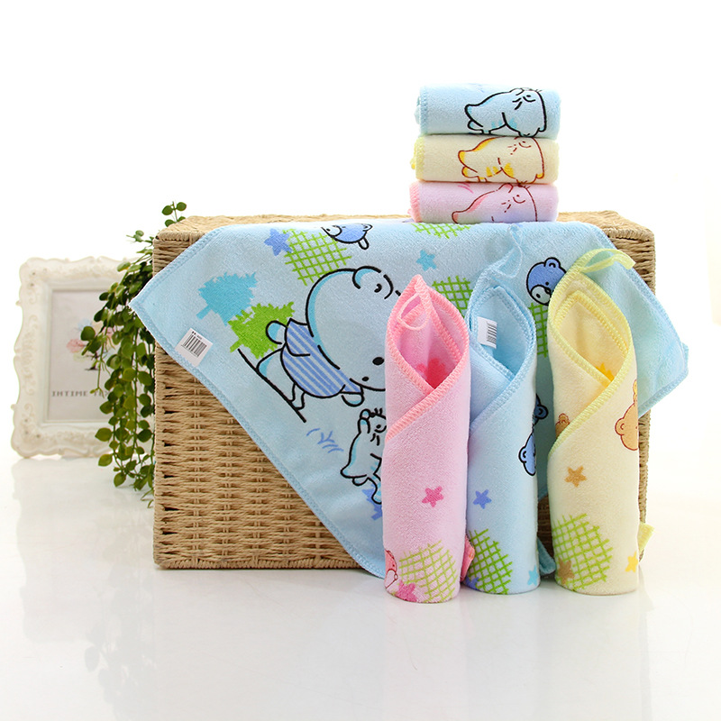 wholesale china supplier microfiber printing baby towels kids colorful square hand towel