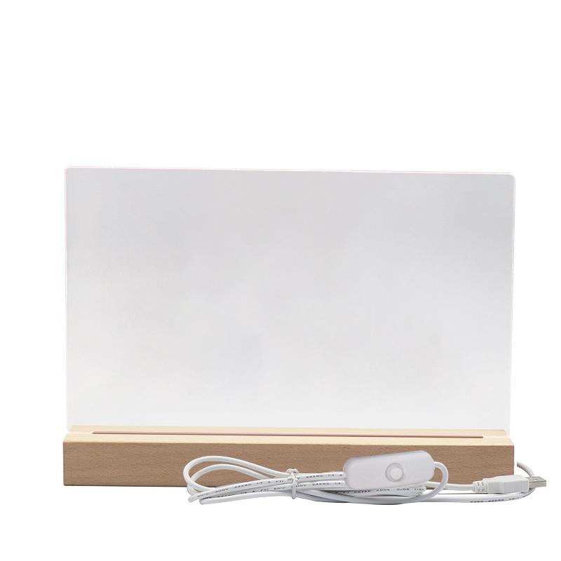 2020 Australia Hot Selling Customized DIY Oversized Rectangle Original Wooden Base for Blank Acrylic Plate LED Night Light