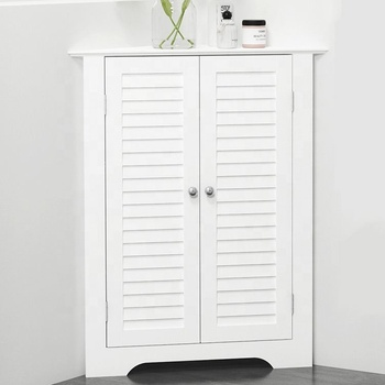 White Wood Triangle Bathroom Corner Cabinet With Double Louver