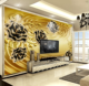 European luxury 3D three-dimensional golden flower jewelry TV background wallpaper 3d rose wallpaper