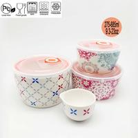 4-Piece Chinese Retro Classic Microwave Safe Ceramic Bowl Set with Plastic Lid with Gift Box
