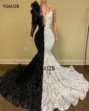 Черное, белое блестящее платье для выпускного с пайетками 2020, черное, для девочек, Русалка, на одно плечо, с длинным рукавом, элегантное, вече...(China)