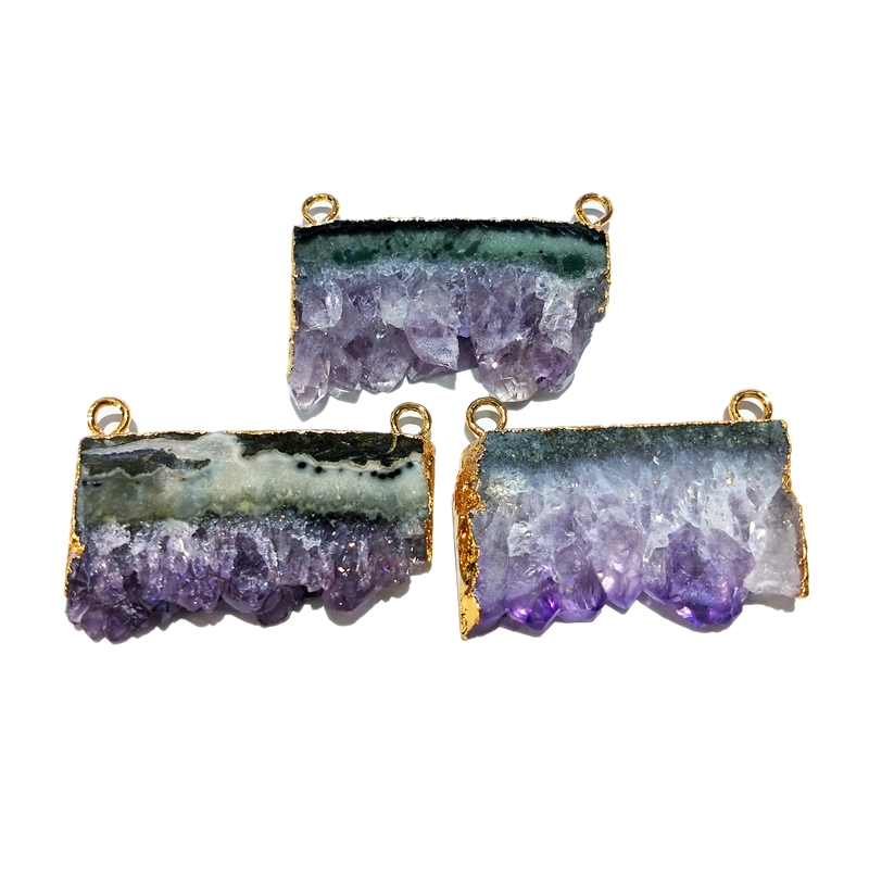 Wholesale Natural Purple Raw Amethyst Connector 24k Gold Electroplated Pendant Connectors Raw Amethyst Slice Stalactite Amethy