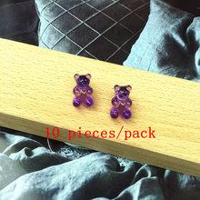 ZiccoWong 10 шт Горячие конфеты смолы медведь милые амулеты DIY патч результаты Gummy серьги брелок ожерелье кулон ювелирные изделия оптом(Китай)