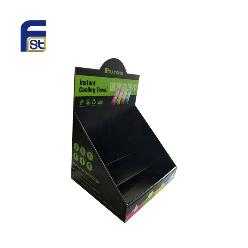 Black Printed 2 Tier Counter Top Cardboard Display <strong>Stand</strong> For Retail