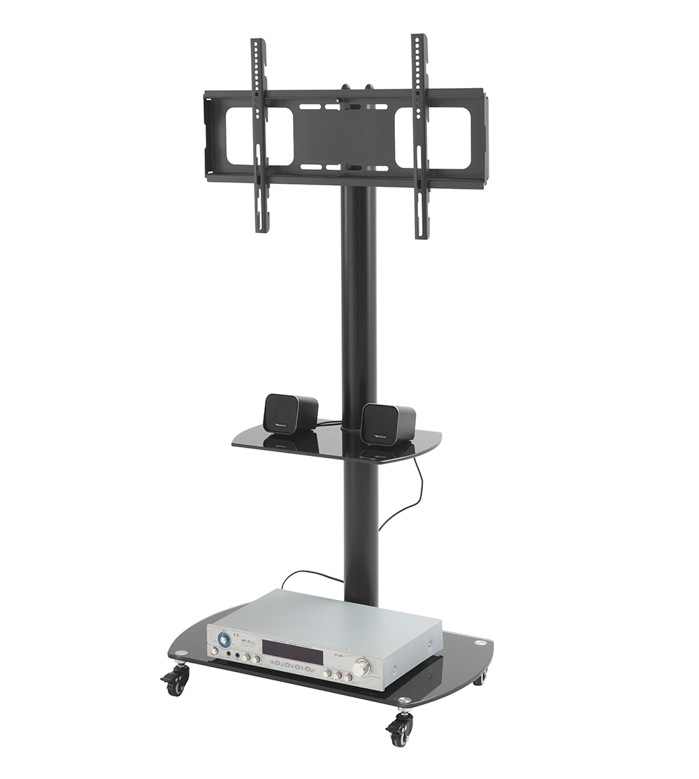 Modern Furniture Movable Mobile Glass Table Top Wheel LED Plasma Screen LCD Wall Mount Floor Lift TV Trolley Designs TV Stand