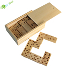 YumuQ Classic Natural Jumbo Wooden Toppling Domino / Dominoes Games Set with Wooden Box for Kids Garden Lawn Games