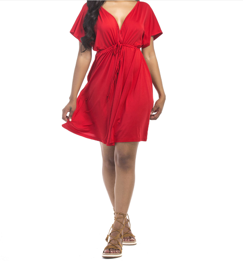 Hot Selling New Design Sexy Solid Color Sashes Deep V Neck <strong>Dress</strong> Plus Size Women <strong>Dress</strong>
