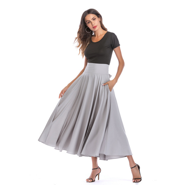 Long Skirts Womens Summer Solid High Waist Skirt Ladies Party Cocktail Skirts Plus Size S-4XL