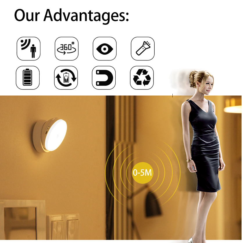 2019 New hot sale wireless battery LED night light motion sensor indoor