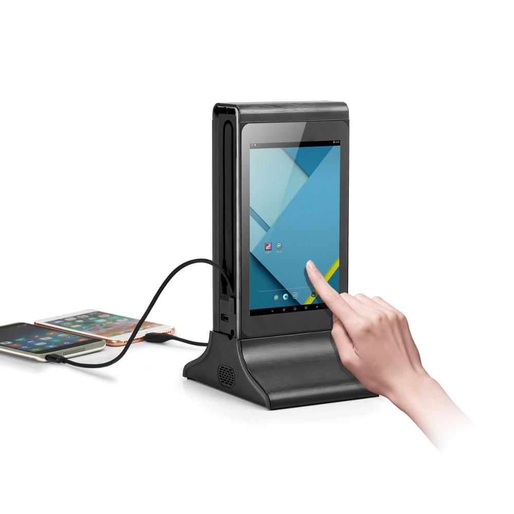WiFi Dual LCD Touch Screen Table Stand Restaurant Advertising Display Player Phone Restaurant Charging Station