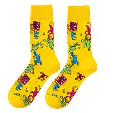 Новинка, модные забавные носки , мужские носки из чесаного хлопка с рисунком, разноцветные Носки с рисунком фламинго, Бигль, животное, новинк...(Китай)