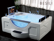 Indoor rechthoek acryl massage bubbelbad Air Spa jetted hot tub whirlpool <span class=keywords><strong>bad</strong></span> met tv