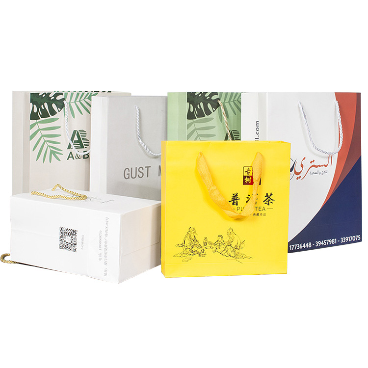 wholesale low cost recycled luxury custom printed logo print grocery shopping white brown kraft paper bag with handle