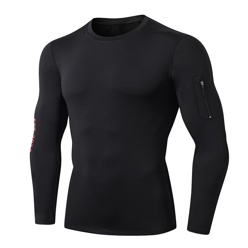 Men's Side Pockets Compression Top Long Sleeve T-Shirt Cool Dry Baselayer for Workout/Sports/Fitness 6