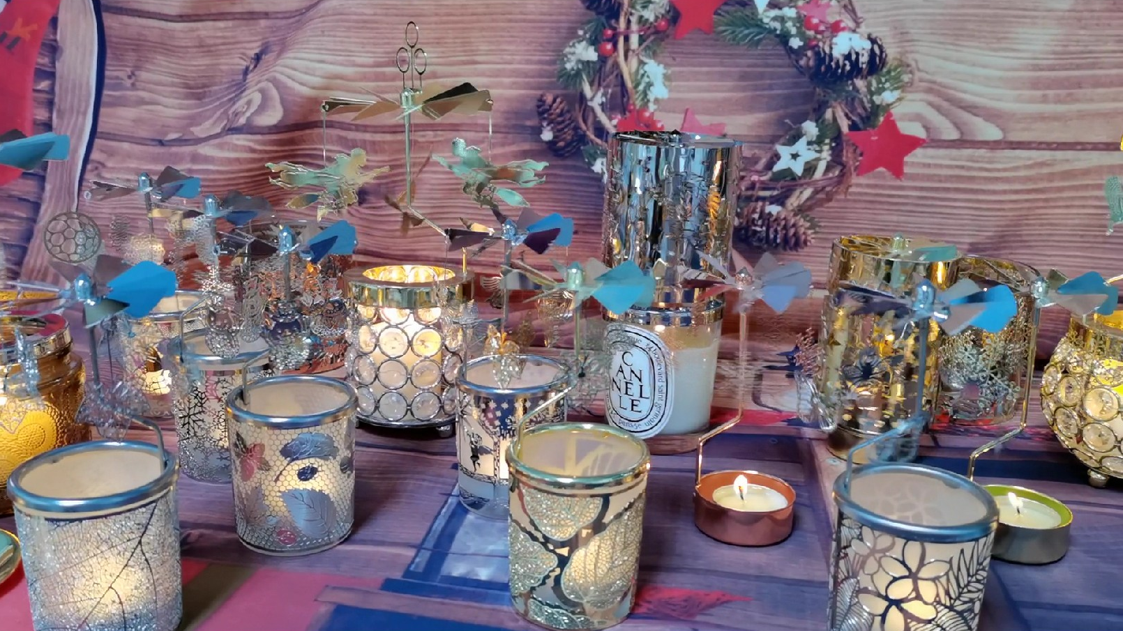 Personalizado árvore de coco seaside cenário vitrais castiçal suporte de vela da luz do chá com o rotary girando macaco