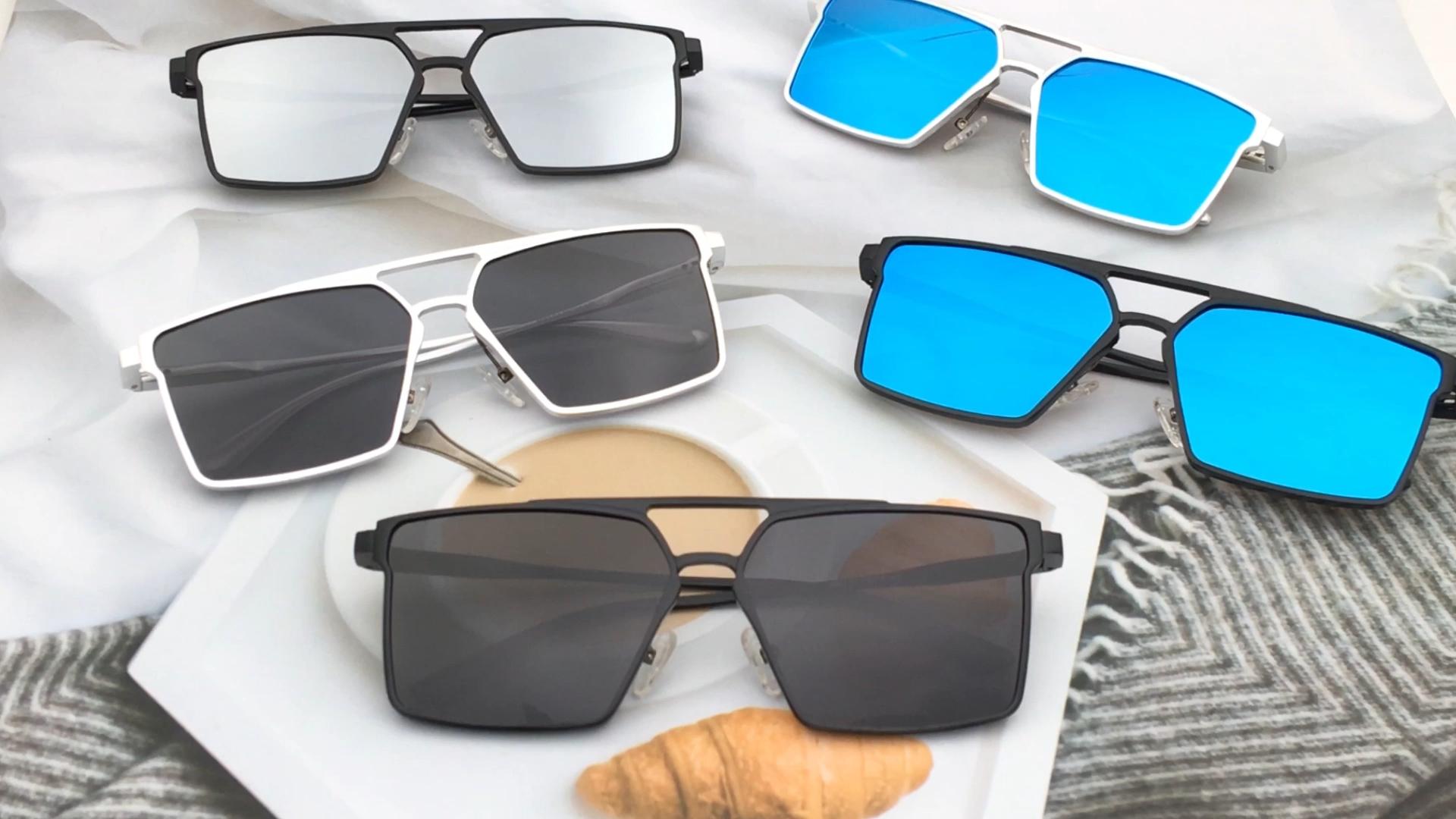 Men style square design metal frame aluminum custom logo wholesale polarized sunglasses