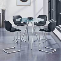 High Quality Cheap Bar Furniture Metal Base Colorful PU Leather Bar Stool Table And Chair Bar Furniture Set