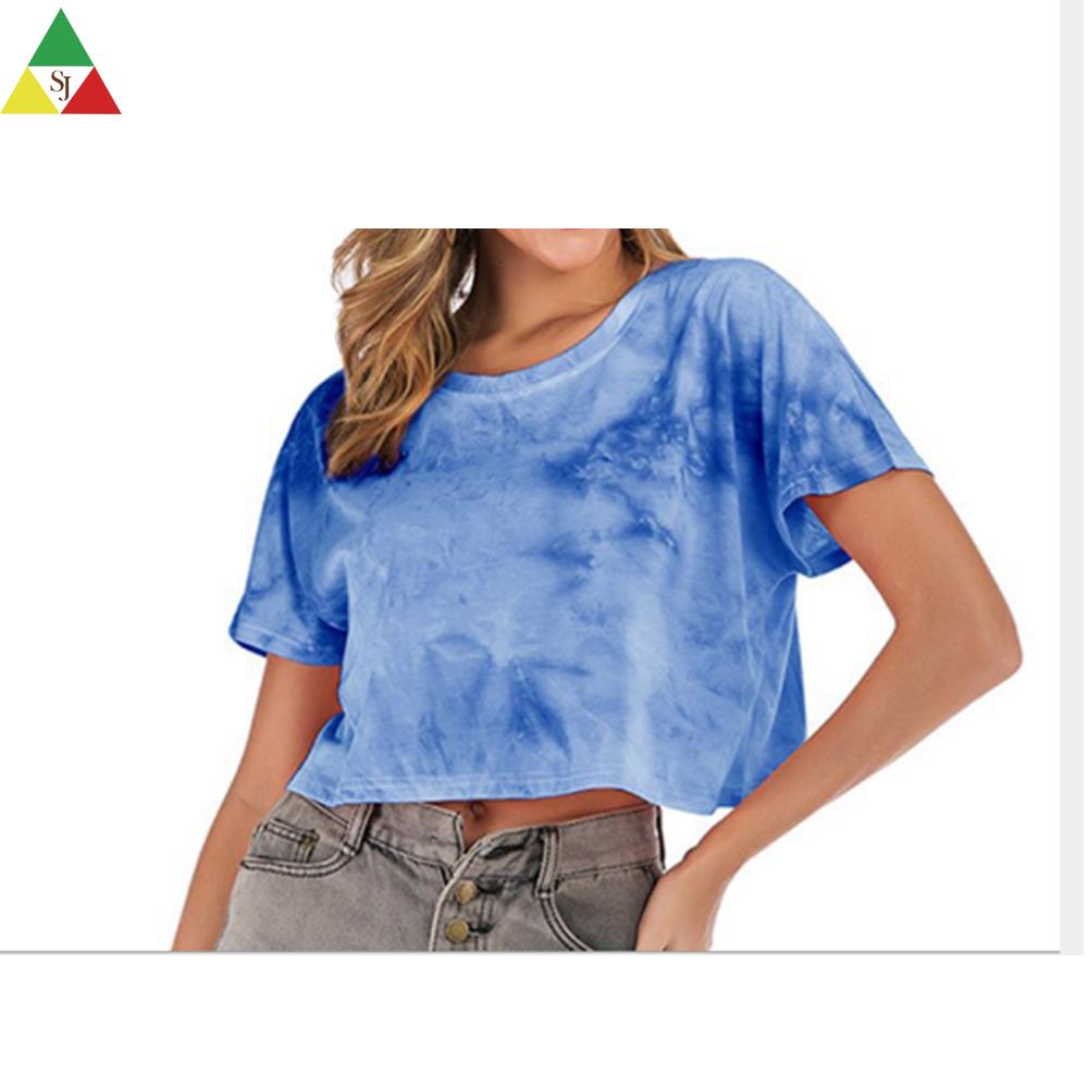 high quality new style crop top tie dye t shirts custom printing