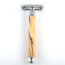 Bahan Alami Olivebranch Handle Chrome Plated Double Edge Balde Cukur Butterfly Safety Razor