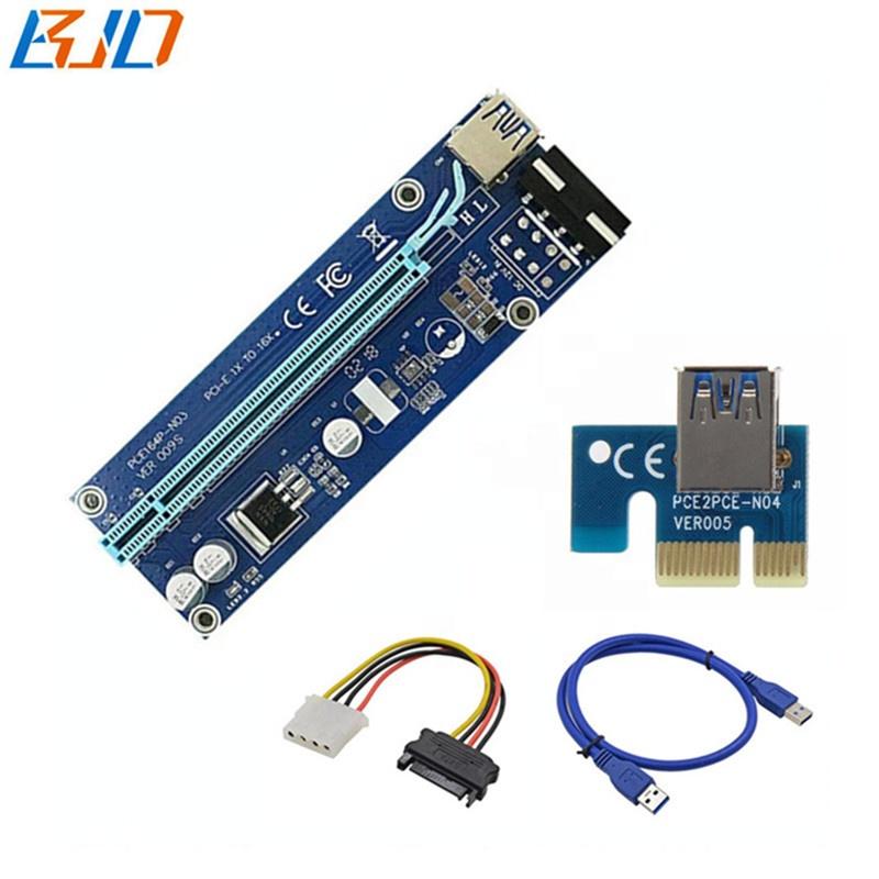Ver 009s Mining PCIE riser PCI-E x1 to x16 riser card - GPU Risers in stock фото