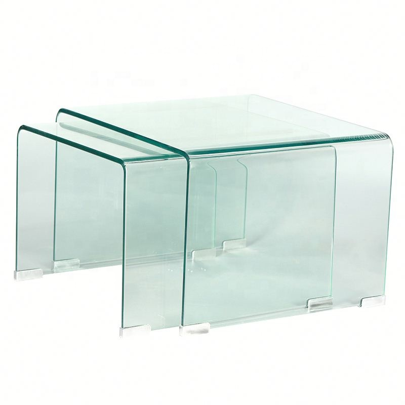 New Design Teapoy Bent Glass Coffee Table Living Room Furniture Coffee Table Curved Glass Coffee Tables  Table Top Glass Price