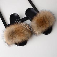Тапочки из натурального меха, женская обувь, женские пушистые шлепанцы, женские меховые сандалии, роскошные женские тапки оптом 2020(Китай)