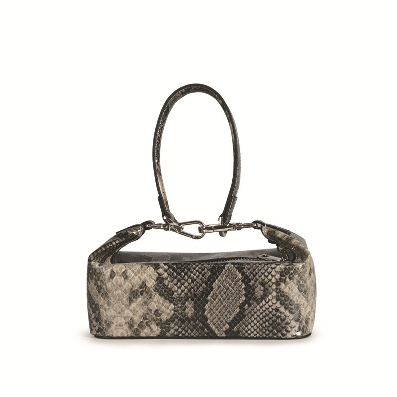 New Snake Skin Leather Baguette Shoulder Bag Pu Bags Women Handbags Hand Bags 2019 Women Lady