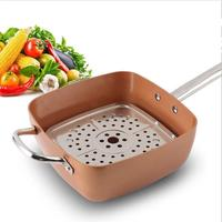 Copper 9.5 Inch Square Deep Chef Frying Pan With Lid - Skillet with Ceramic Non Stick Coating Cookware For Saute And Grill
