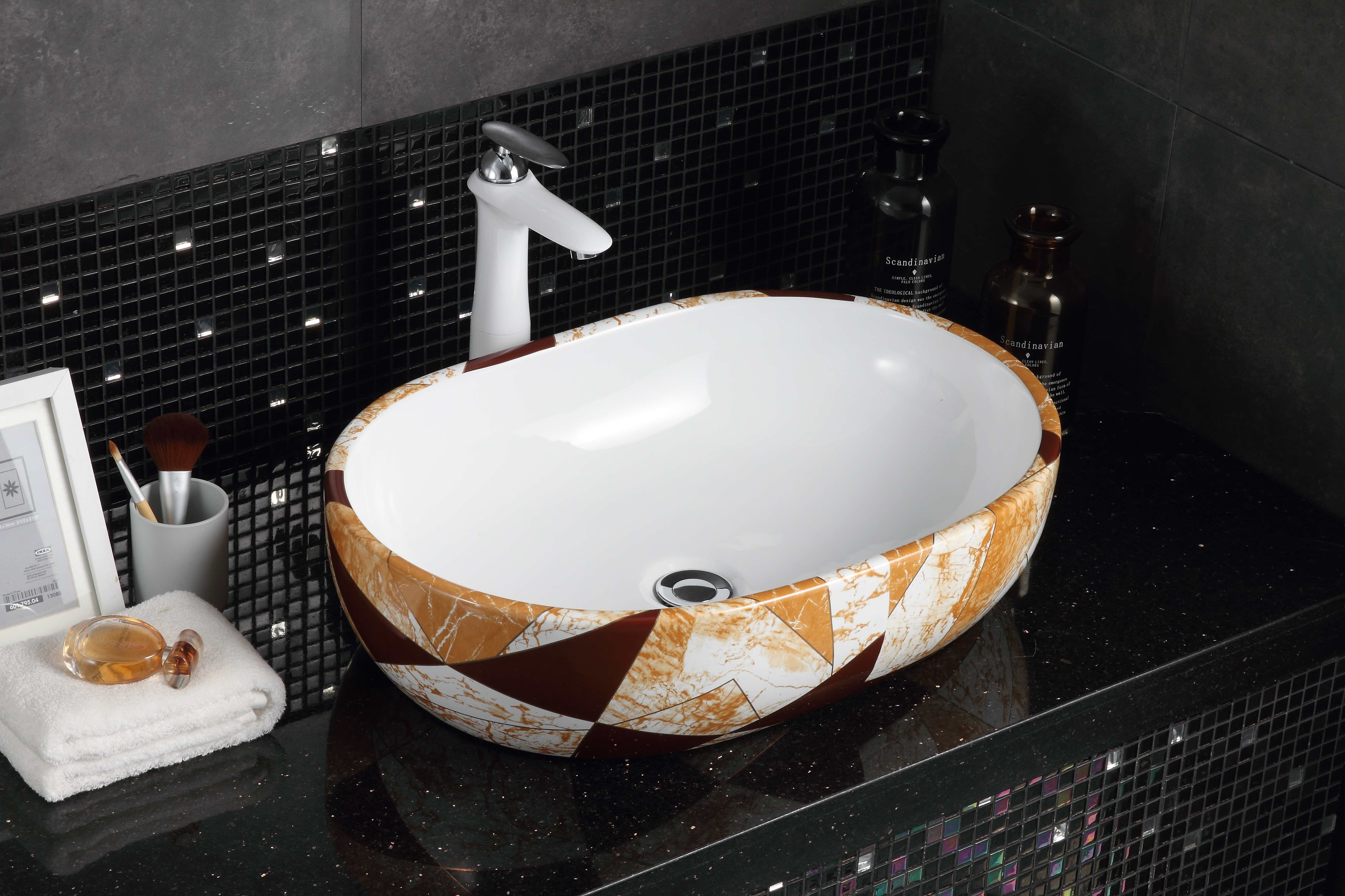 High quality wholesale modern fashion ceramic bathroom sink black water drop pattern design art basin