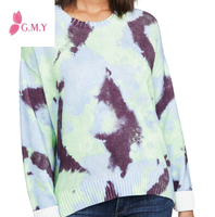 2019 Ladies Winter Blue Tie Dye Print Ribbed Edges Long Sleeve Crew Neck Knit Sweater