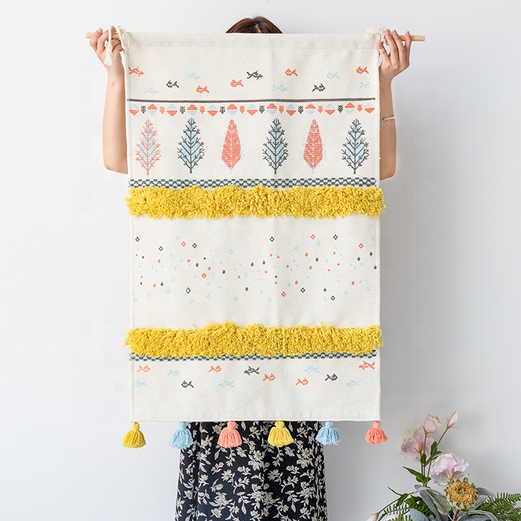 Bohemian tapijt muur opknoping matten custom made tapestry met kwasten