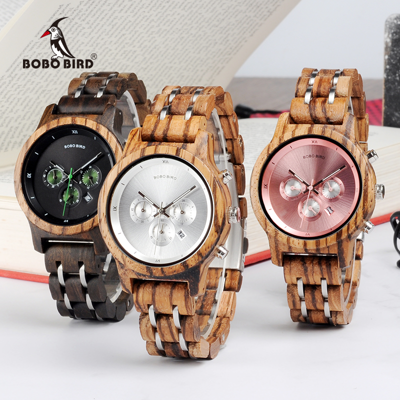 BOBO BIRD Luxury Chronograph Date Display Stainless Steel Versatile <strong>Wrist</strong> Wood <strong>Watch</strong> <strong>for</strong> <strong>Women</strong>