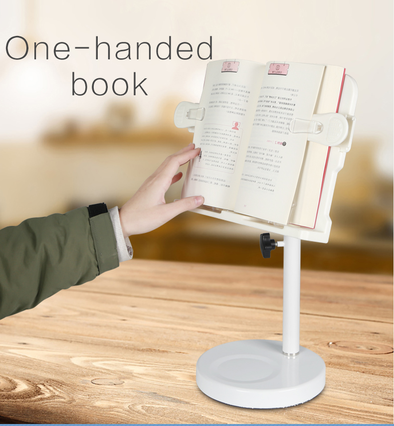 2020 new design durable adjustable folding book reading stand book  holder Desktop  Bed metal  Cook Book Reading Stand Holder
