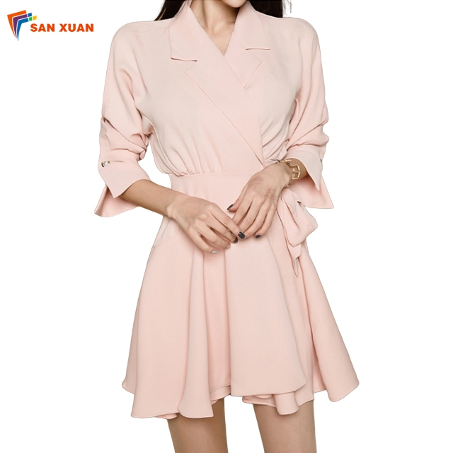 2020 latest fashion design turn-back collar high waist bowknot lace-up half sleeve korean casual women simple hot pink dress
