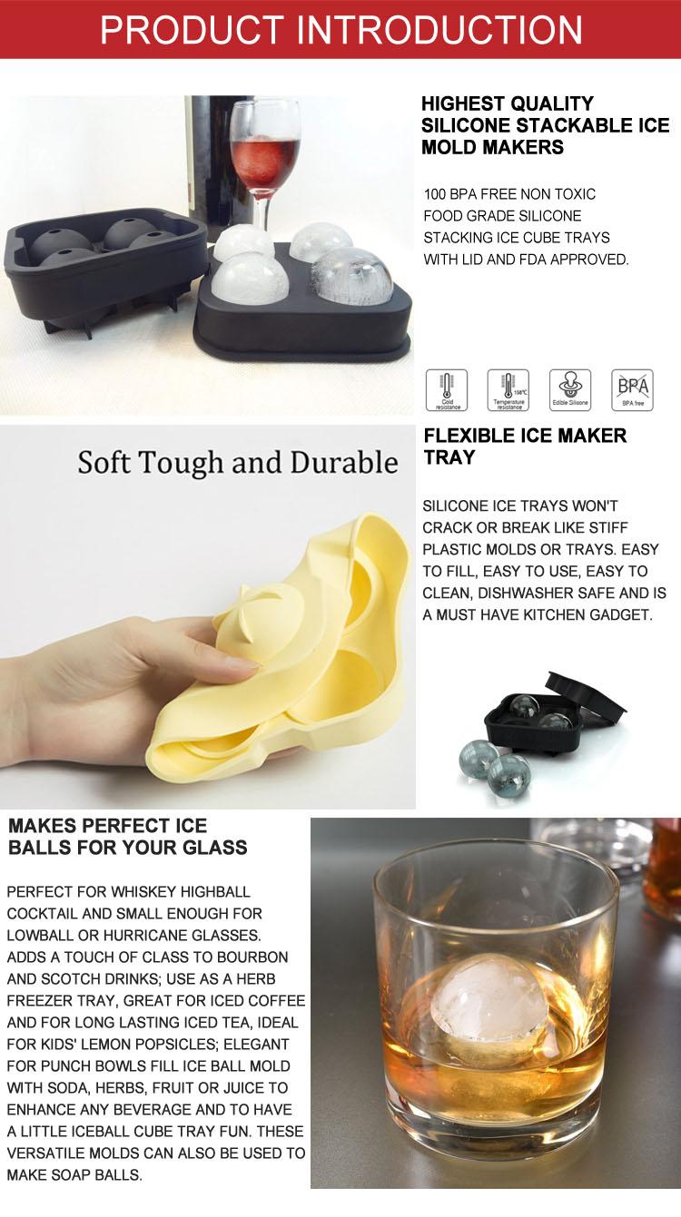 Personalizar Silicone Ice Bola Mold 4 Cavidade Bola Forma Silicone Bandeja De Cubos De Gelo Buy Forma De Bola De Silicone Cubo De Gelo Mold Product On Alibaba Com