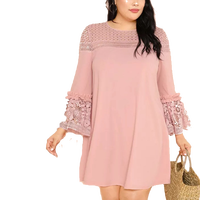 Oversized Guipure Lace Frill Trim Dress Flounce Sleeves Club Wear Shift Mini Dress for Fat Female