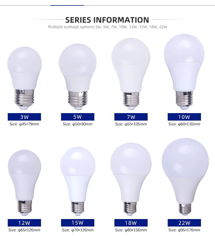 최고급 A50 E27 5W 12W 18W 22W PBT 원료 IC 드라이버 보드 LED 전구