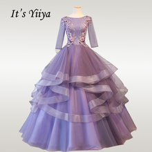 Женское свадебное платье It's YiiYa, фиолетовое длинное Многоярусное платье размера плюс с рукавом три четверти, модель CH077, 2019(China)
