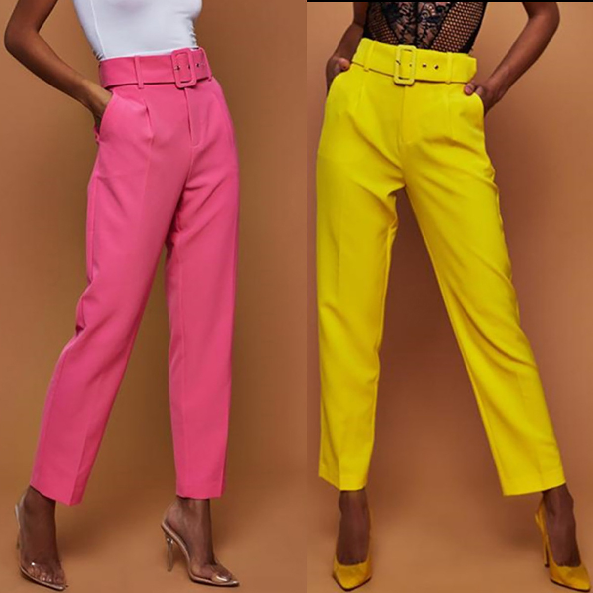 Hot selling popular high waist plain slim fit women pants