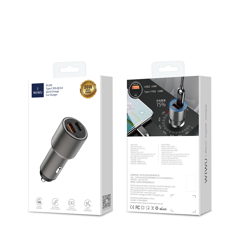 WiWU Mini hot sell Car charger 18w fast charger with USB and Type C fast charge for smart phone