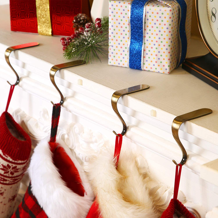 Christmas Stocking Holders Hooks Fireplace Mantel Hangers Metal Hanging Hanger Clips for Christmas Party Decoration Supplies