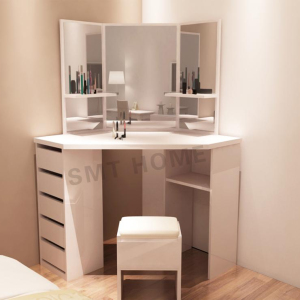 White color Mecor Vanity Makeup Table Set Dressing Table with Stool and Square Mirror for corner of wall