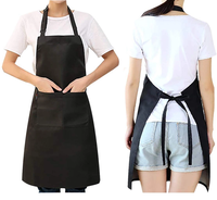 Black Plain Customized Logo Printing Canvas Polyester Men Women Protective Kitchen Cleaning Cooking Waist Apron with Pocket