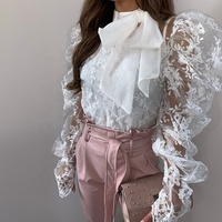 New arrival lady fashion blouses 2020 elegant lace tops long puff sleeve blouse