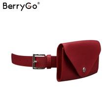 Женская поясная сумка BerryGo, модная повседневная поясная сумка из искусственной кожи, поясная сумка-почтальонка с ремнем и пуговица для сумо...(Китай)