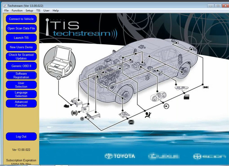 Terbaru V14.20.019 Mini Vci Antarmuka untuk Toyota Tis Techstream MINI-VCI FT232RL Chip J2534 OBD2 Kabel Diagnostik