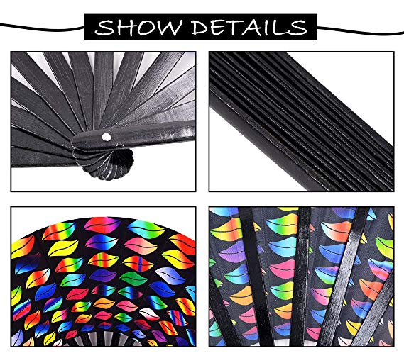 [I AM YOUR FANS] 2020 Factory Price Customized large big size bamboo fabric foldable hand fan for nightclub use